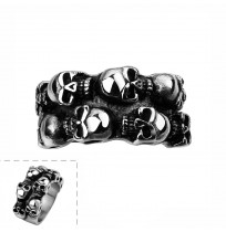 Men Stainless Steel Gothic Punk Horror Skulls Ring