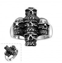 Men's 316L Stainless Steel 5 Skulls in Cross Ring