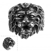 316L Stainless Steel Punk Animal Lion Head Ring