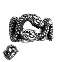 Men's 316L Stainless Steel Double Snakes Ring