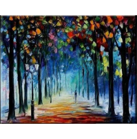 100% Handmade PALETTE KNIFE Oil Paintings Canvas-Framed #045