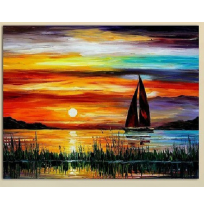 100% Handmade PALETTE KNIFE Oil Paintings Canvas-Framed #046