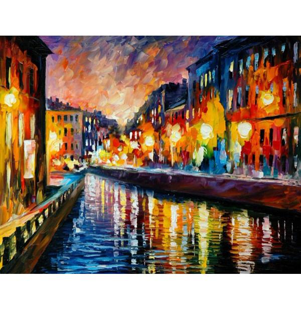 100% Handmade PALETTE KNIFE Oil Paintings Canvas-Framed #050