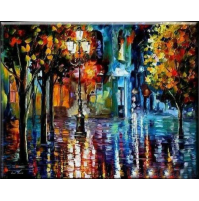 100% Handmade PALETTE KNIFE Oil Paintings Canvas-Framed #055