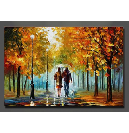 100% Handmade PALETTE KNIFE Oil Paintings Canvas-Framed #057