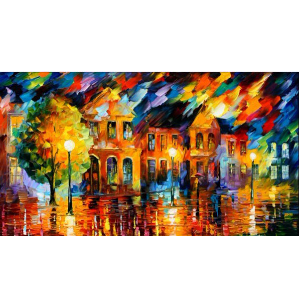 100% Handmade PALETTE KNIFE Oil Paintings Canvas-Framed #059