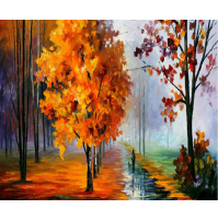 100% Handmade PALETTE KNIFE Oil Paintings Canvas-Framed #073