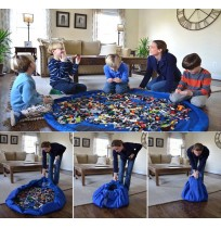 1.5M Portable Kids Lego Play Mat & Toy Storage Bag